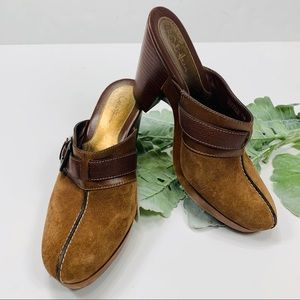 COLE HAAN | Brown Suede Clog Mules Buckle Detail
